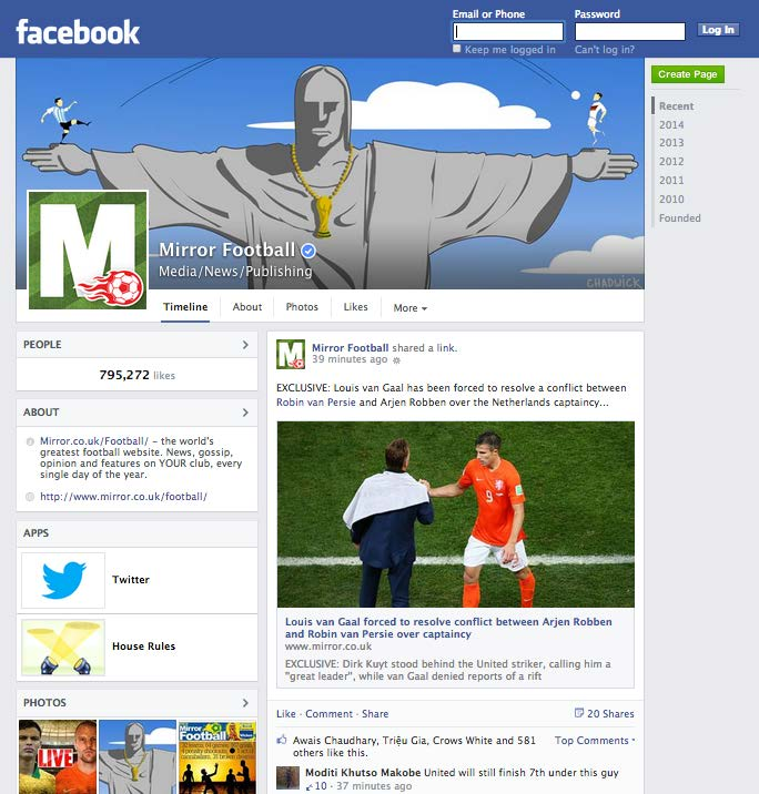Daily Mirror Facebook in situ